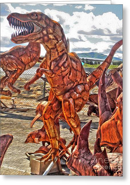 Metal Dinosaurs - 03 Greeting Card by Gregory Dyer