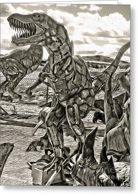 Metal Dinosaurs - 04 Greeting Card by Gregory Dyer