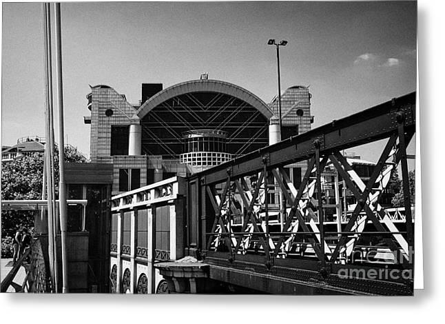 metal hungerford rail bridge leading to Charing Cross rail station London England UK Greeting Card by Joe Fox