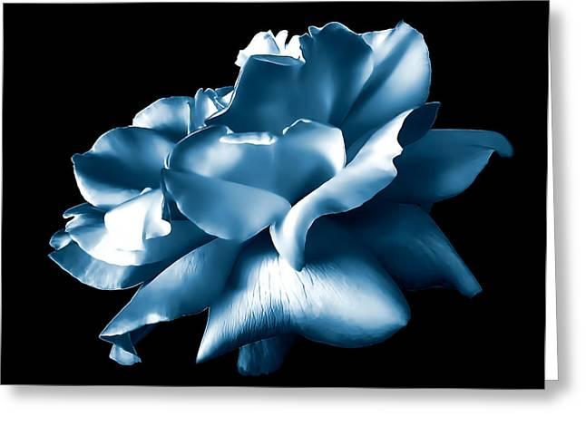 Metallic Blue Rose Flower Greeting Card by Jennie Marie Schell