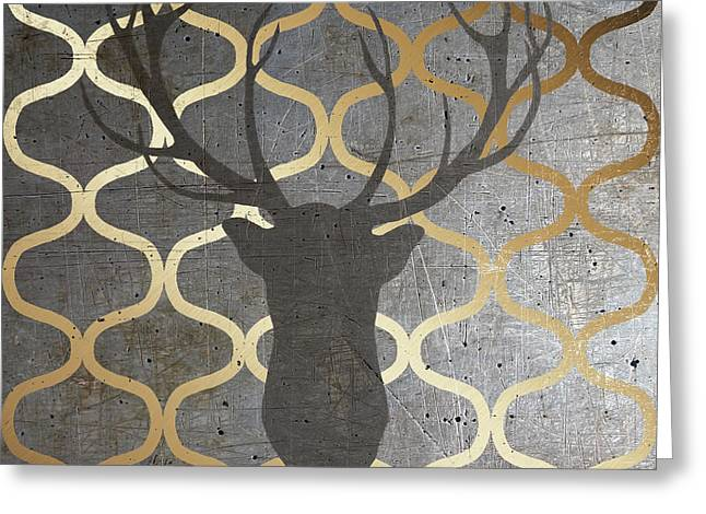 Metallic Deer Nature Greeting Card by Andi Metz