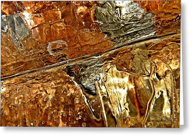 Metallic Leaves Under Ice Greeting Card by Chris Berry