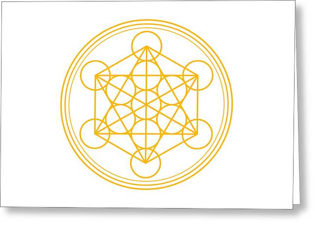 Metatron Cube Gold Greeting Card