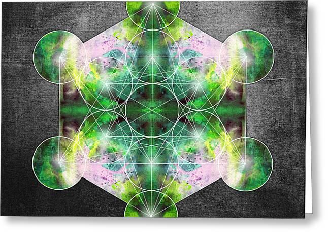 Metatron's Cube Green Greeting Card