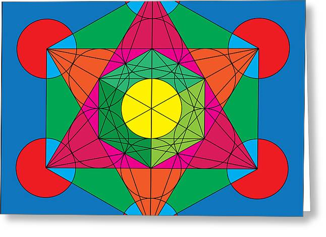 Metatron's Cube In Colors Greeting Card by Steven Dunn