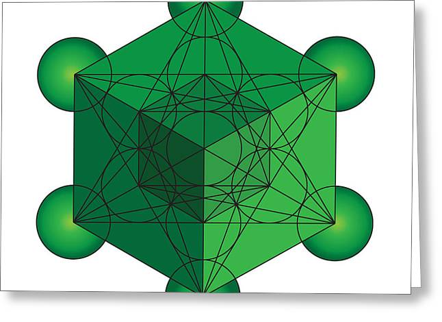 Metatron's Cube In Green Greeting Card by Steven Dunn