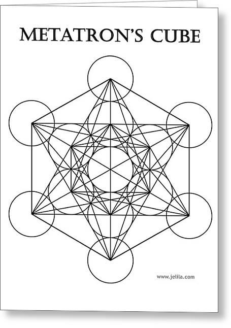 Metatron's Cube - White Greeting Card by Jelila Jelila