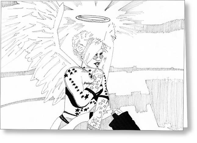 Meteor Mags Anarchangel 3 Greeting Card by Matthew Howard