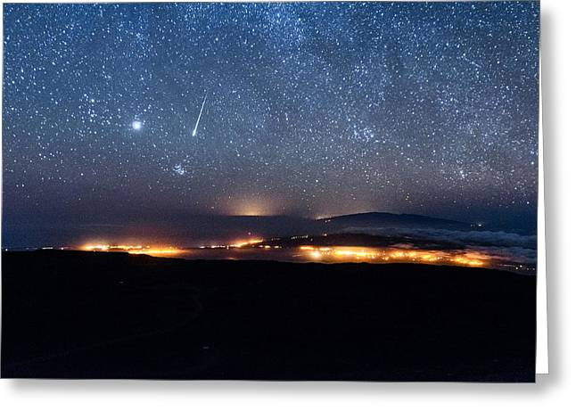 Meteor Over The Big Island Greeting Card