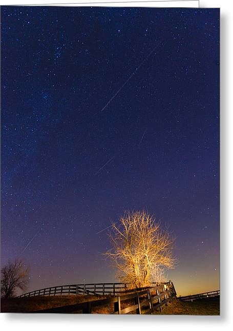 Meteor Shower Greeting Card by Alexey Stiop