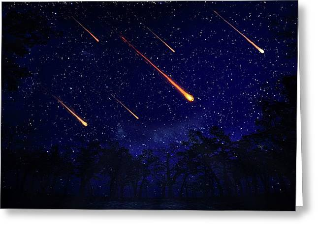 Meteor Shower Greeting Card by Andrzej Wojcicki