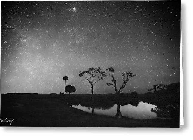 Meteor Shower In Black And White Greeting Card