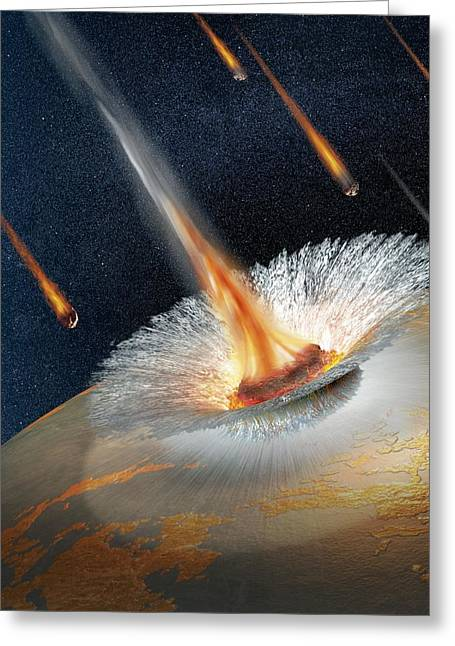 Meteor Strike, Artwork Greeting Card by Science Photo Library