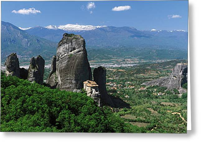 Meteora Monastery Greece Greeting Card by Panoramic Images