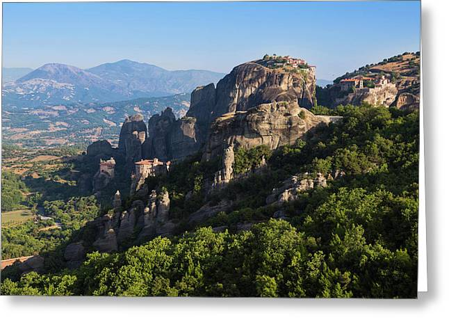 Meteora, Thessaly, Greece. Panorama Greeting Card