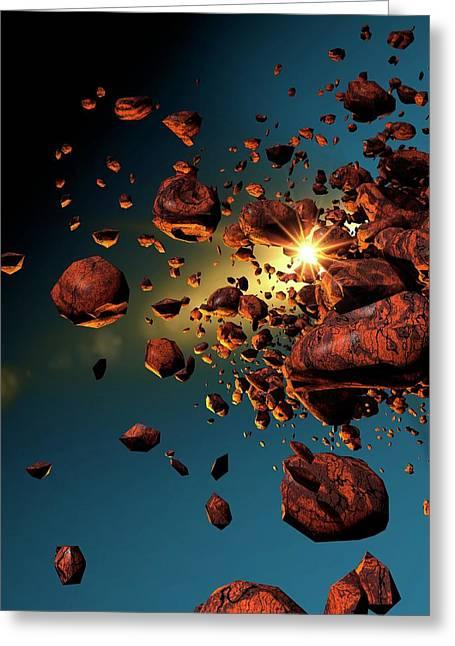 Meteors In Space Greeting Card