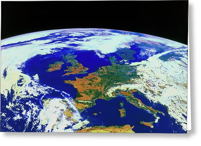 Meteosat Image Of Europe Greeting Card by Esa/kevin A Horgan/science Photo Library