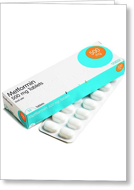 Metformin Antidiabetic Tablets Greeting Card by Science Photo Library