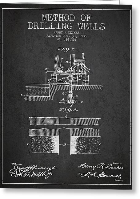 Method Of Drilling Wells Patent From 1906 - Dark Greeting Card by Aged Pixel