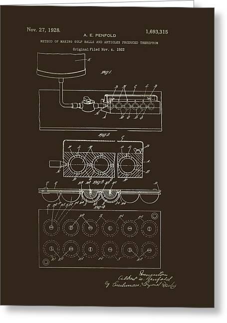 Method Of Making Golf Balls Patent 1928 Greeting Card