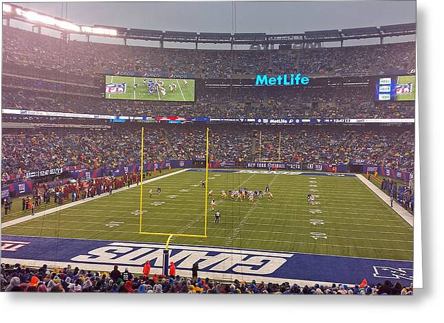 Metlife Stadium And New York Giant Greeting Card by Juergen Roth