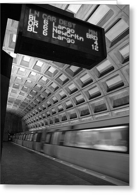Metro Blur Greeting Card by Bryan Knowles