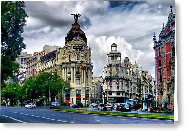 Metropolis Madrid Greeting Card by Pedro Fernandez