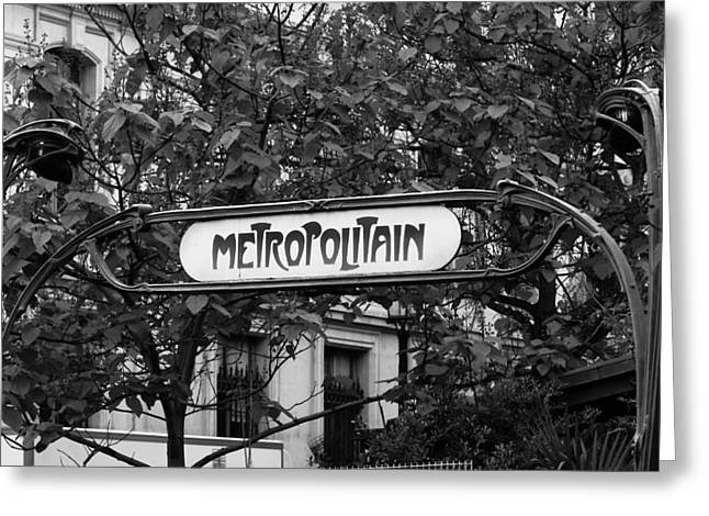 Metropolitain - Bw Greeting Card by Carrie Warlaumont