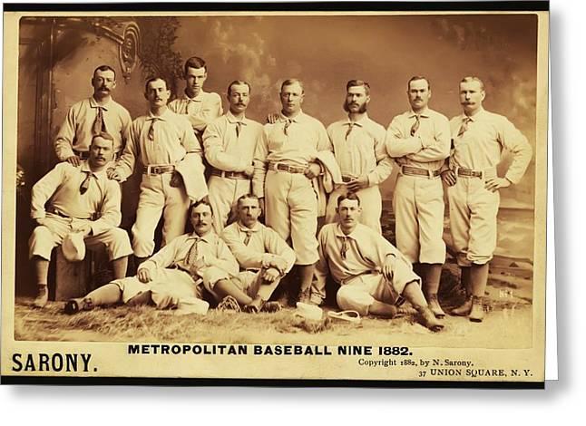 Metropolitan Baseball Nine Team In 1882 Greeting Card by Bill Cannon