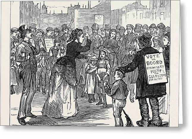 Metropolitan Boroughs Election Womans Rights London 1874 Greeting Card by English School