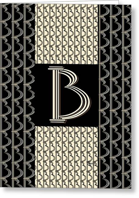 Metropolitan Park Deco 1920s Monogram Letter Initial B Greeting Card by Cecely Bloom
