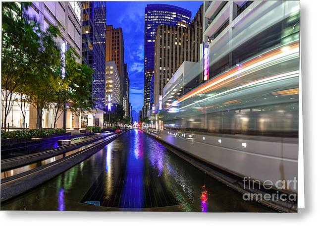 Metrorail Warp Speed On Main Street- Downtown Houston Texas Greeting Card by Silvio Ligutti