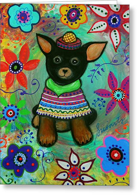 Mexican Chihuahua El Perrito Greeting Card by Pristine Cartera Turkus