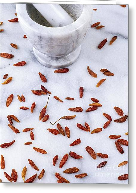 Mexican Chillies Greeting Card by Geoff Kidd