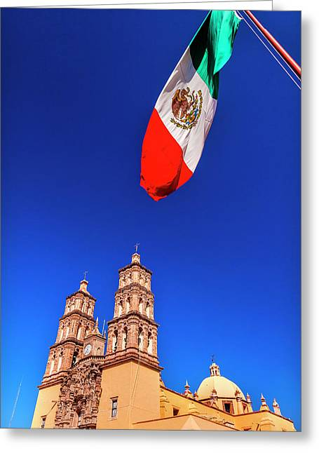 Mexican Flag, Parroquia Catedral Greeting Card