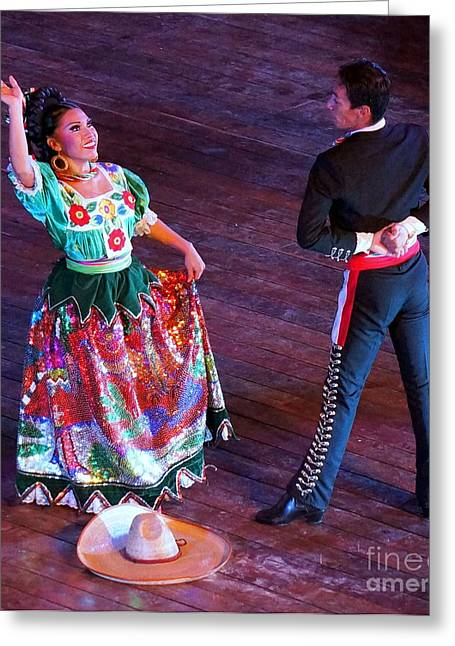 Mexican Folk Dance 12 Greeting Card by Rachel Munoz Striggow