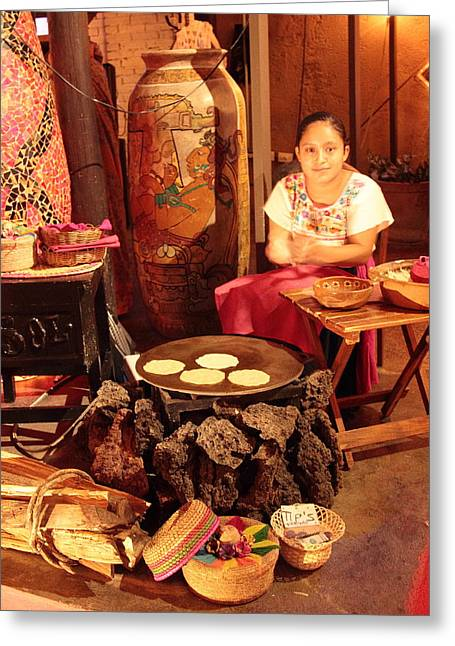 Mexican Girl Making Tortillas Greeting Card