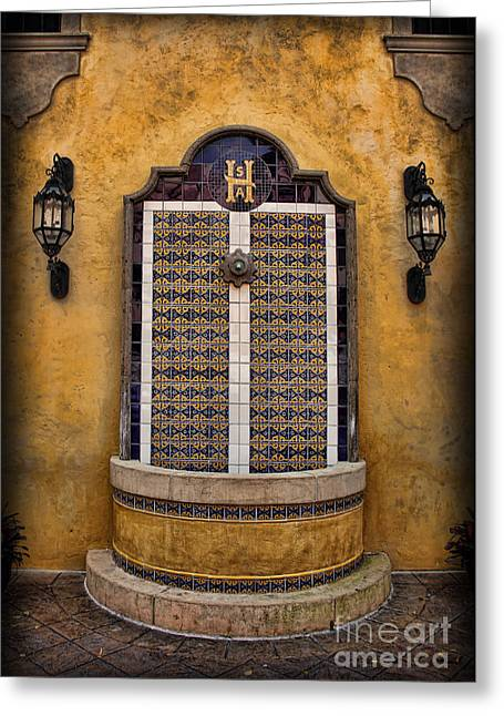 Mexican Hacienda Fountain Greeting Card by Lee Dos Santos