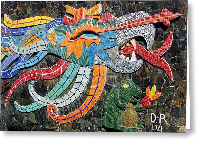 Mexican Mosaic Art Greeting Card by Linda Phelps