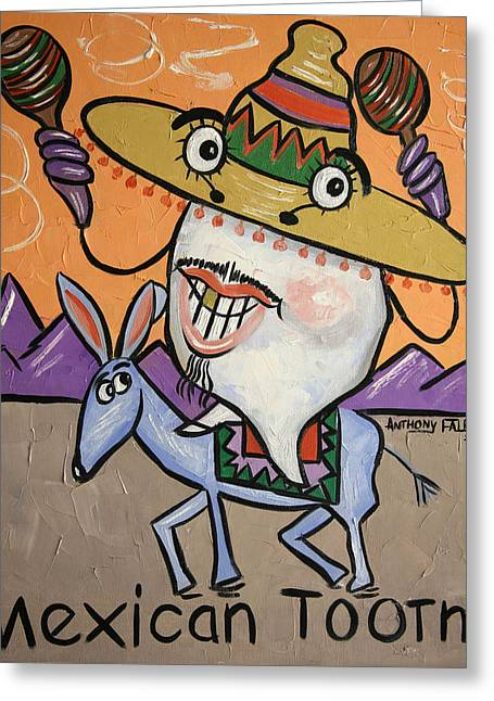 Greeting Card featuring the painting Mexican Tooth by Anthony Falbo