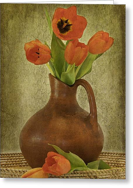 Mexican Water Jug With Poppies Greeting Card by Lynne Fried
