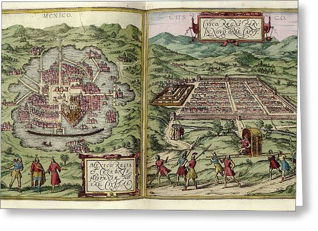 Mexico City And Cusco Greeting Card by Library Of Congress, Geography And Map Division