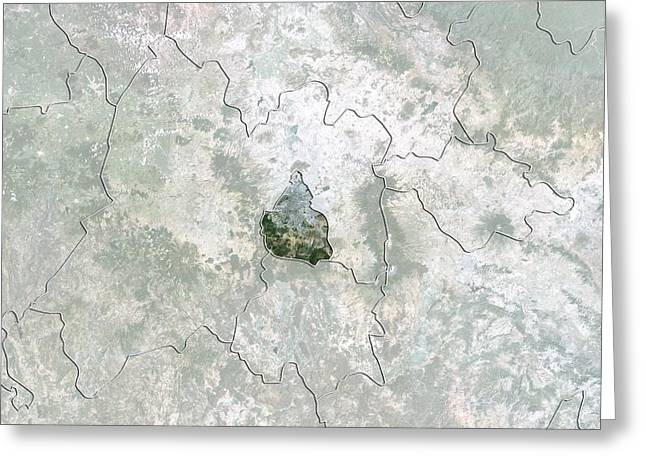 Mexico City, Mexico, Satellite Image Greeting Card