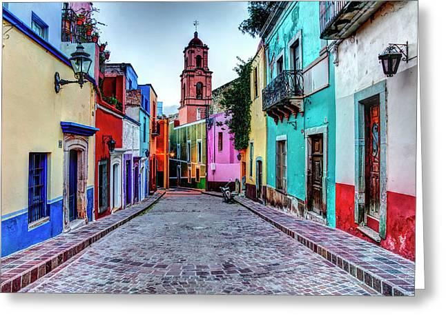 Mexico, Guanajuato, Colorful Back Alley Greeting Card