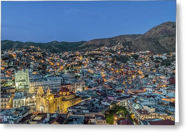 Mexico, Guanajuato, Twilight Guanajuato Greeting Card by Rob Tilley
