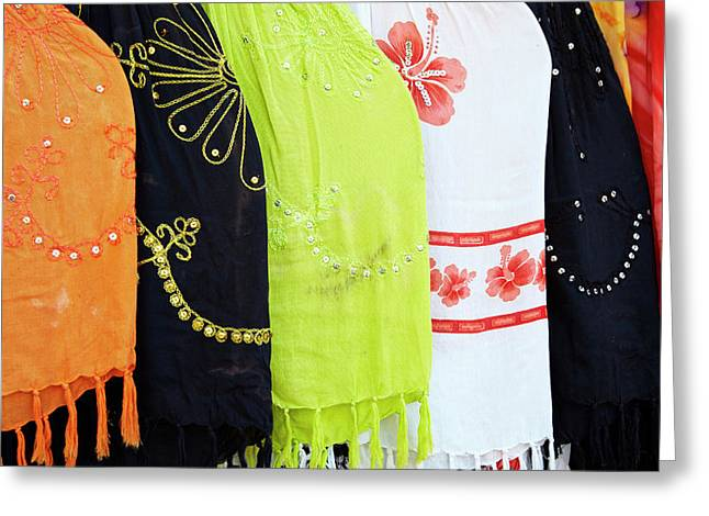 Mexico, Jalisco Colorful Scarves Sold Greeting Card by Jaynes Gallery