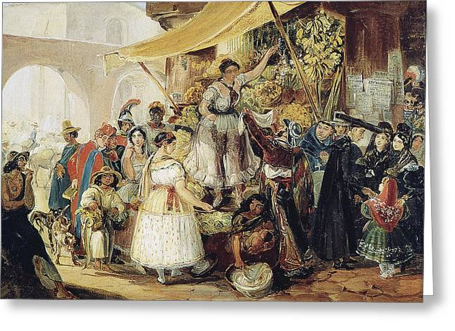 Mexico Market, 1833 Greeting Card by Granger