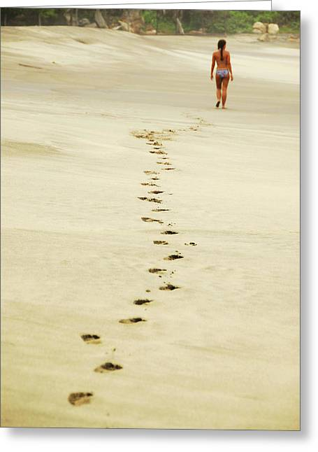 Mexico, Mazunte, View Of Footprints Greeting Card