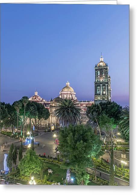 Mexico, Puebla, Zocolo And Puebla Greeting Card