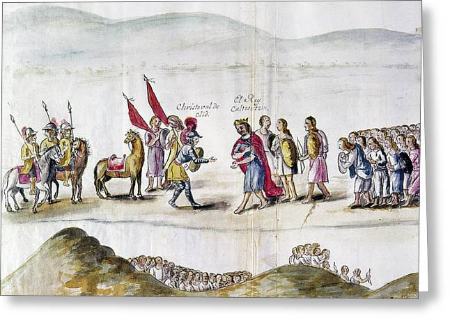 Mexico Spanish & Natives Greeting Card by Granger